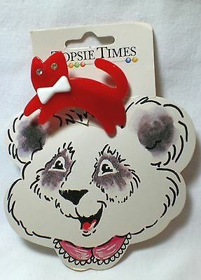 New Vintage Topsie Times Red Cat Hair Barrette Clip Women Girl Still On Package