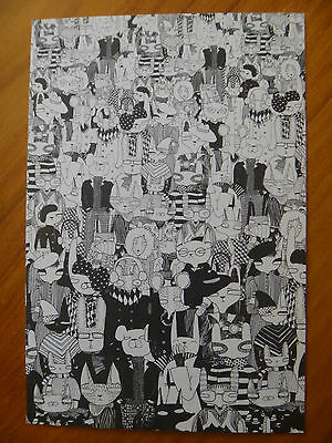 """Postcard...""""animal Company""""..black & White Drawing...animals In Human Clothing"""