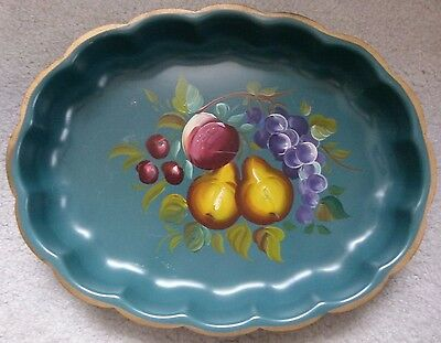 Vintage Hand Painted Toleware Green Oval Metal Serving Tray Platter Fruit Motif
