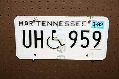 1992  - Tennessee - License Plate - Uh 959 - Disabled