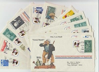 Qty 12 - 1980 Norman Rockwell - First Day Covers - Mixed Lot - No Dupes