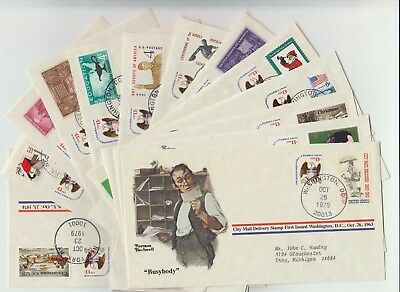 Qty 13 - 1979 Norman Rockwell - First Day Covers - Mixed Lot - No Dupes