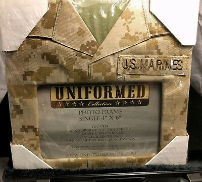 "NEW Uniformed Collection Photo Picture Frame U.S. Marines Camo  Military 4"" X 6"