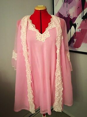 Vintage 60s Pink Lady Short Babydoll Peignoir Nightgown Robe Set Lingerie Small