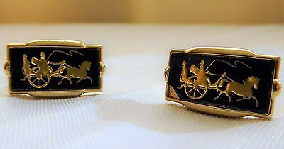 Horse Carriage Cuff Links Vintage Gold Tone Black Driver Wagon Wheel Whip