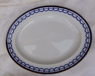"Truscan Large Serving Platter Cobalt Blue white gold 17.5"" x 14"" England antique"