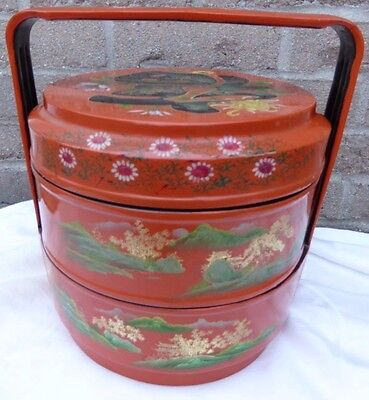 "Lacquer Stacking Box 3 tier Orange w gold Asia China 11"" tall lunch picnic"