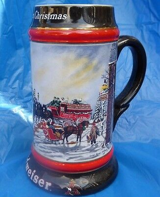 Budweiser 1992 Perfect Christmas Beer Stein Mug Horses Snow Collectors