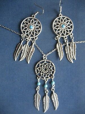 Silver Turquoise Dream Catcher Dreamcatcher Metal Pendant Necklace Earrings Set