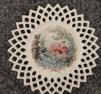 Reticulated Plate Lovers Romance Ceramic China 9.5 inch Signed Vintage