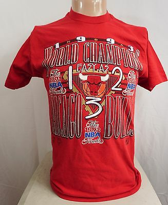 "vtg 1993 CHICAGO BULLS T SHIRT - ""EASY AS 1, 2, 3"" CHAMPS Jordan NBA FINALS"