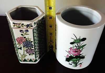 Two Hand Painted Chinese Vases in Matching Colors