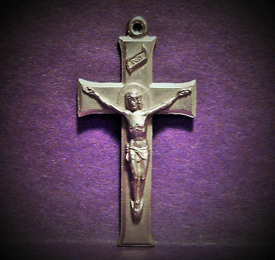 Vintage Religious Jesus On The Cross Crucifix Pendant - Medal - #2