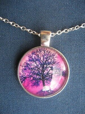 """Silver Tree of Life """"Summer"""" Metal Pendant Necklace Cosmic"""