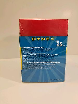 Dynex 25 Pack Color Slim DVD Case New never open