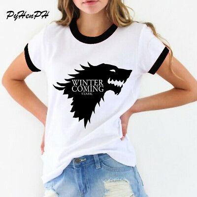 New women's t-shirt Game of Thrones Shirt Winter is coming stark wolf funny
