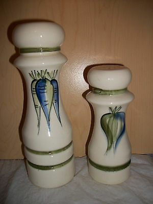 Vintage Large White Salt & Pepper Shakers with Carrots & Onion Design