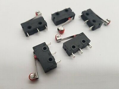5pcs MICRO LIMIT SWITCH  HINGED LEVER/ROLLER  12V/24V/250V  3A