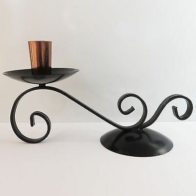 Vintage Wrought Iron & Copper Black Metal Candlestick Candle Holder Stick