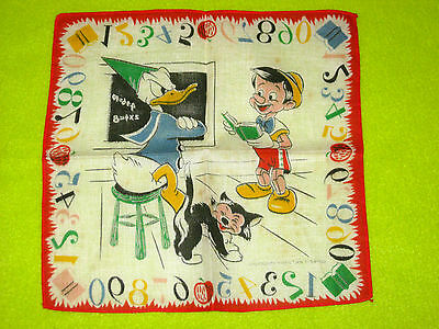 Walt Disney Productions Donald Duck and Pinocchio Handkerchief Scarf 1950 1960