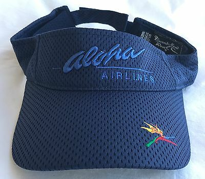 Aloha Airlines Visor Pre-Owned Barely Used Hard To Find Velcro Adjust Osfm