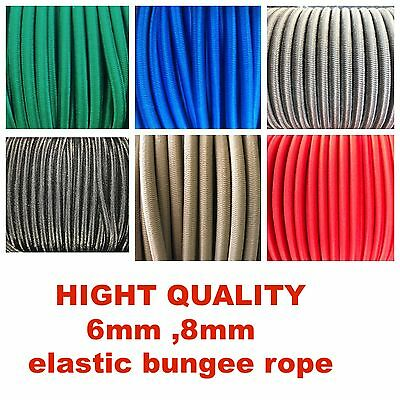 Elastic Bungee Rope - Shock Cord -Tie Down 6mm,8mm various length and colors
