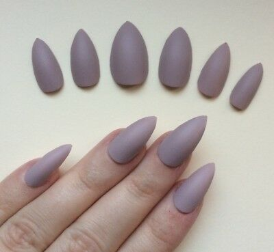 Hand Painted False Nails STILETTO (Or ANY SHAPE) Matte Natural Nude Taupe SALE
