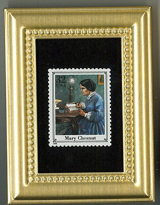 Mary Chesnut A Civil War Glass Framed Collectible Postage Masterpiece!