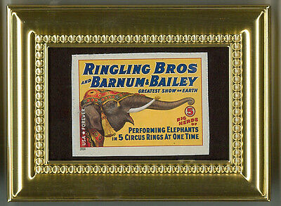 Elephants Performing A Glass Framed Collectible Postage Micro Masterpiece