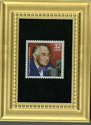Honoring Franklin Delano Roosevelt Glass Framed Collectible Postage Masterpiece!