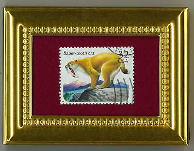 Saber-Toothed Tiger On U.s. Stamp - A Must Have Framed Postage Micro Masterpiece