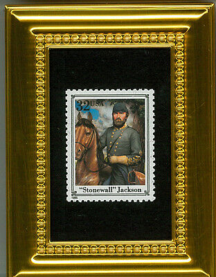 Stonewall Jackson Ncwa Confederate Glass Framed Collectible Postage Masterpiece