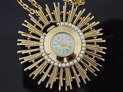 Vintage 1964 Corocraft Gold Plated Necklace/Brooch Mechanical Watch with Papers.