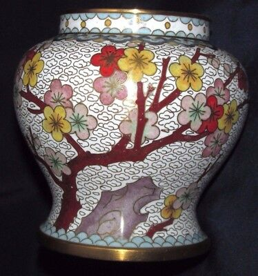 Vintage Chinese Metal Cloisonne Pot / Vase Flowers Blossoms & Butterfly 11CMT