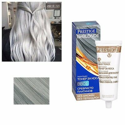 GREY HAIR SILVER EFFECT TONER, DYE BLOND HAIR 100 ml. NO AMMONIA & PEROXIDE
