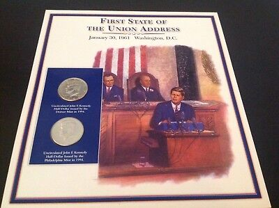 JFK half dollar coin and stamp collection - First state of the union address