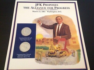 JFK half dollar coin and stamp collection - JFK proposes the alliance for progre