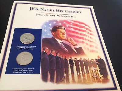 JFK half dollar coin and stamp collection - JFK names his cabinet