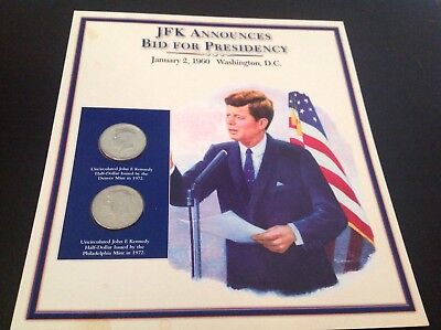 JFK half dollar coin and stamp collection - JFK announces bid for presidency