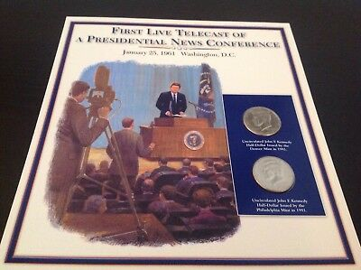 JFK half dollar coin and stamp collection - First live telecast