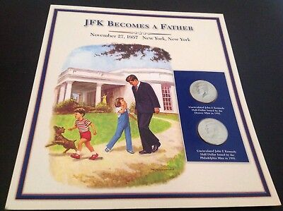 JFK half dollar coin and stamp collection - JFK becomes a father