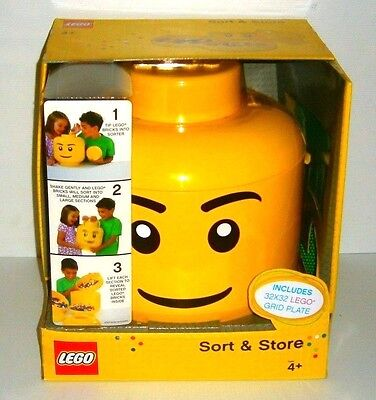 LEGO Genuine Sort & Store Large Head with 32 x 32 Green base plate New RARE