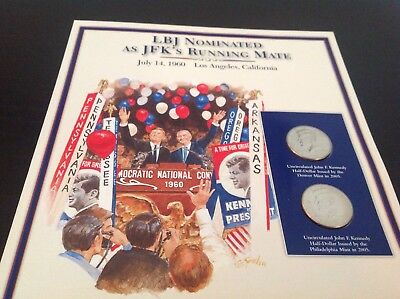 JFK half dollar coin and stamp collection - LBJ nominated as JFK running