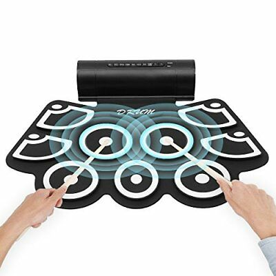Electronic Drum w/ Built in Speaker 9 Pads Portable Roll Up Kit w/ 2 Foot Pedals