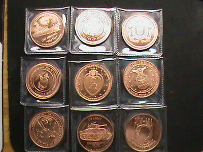 9~coin Set~ Military challenge like coins~ 1 OZ. copper .999 proof like