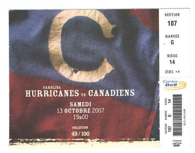 2007-08 MONTREAL CANADIENS NHL HOCKEY TICKET vs HURRICANES OPENING GAME 49/100