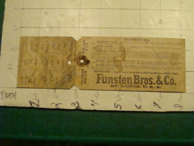 Orig. Vint. FUNSTEN BROS & Co - TAG, st. louis USA - some pencil on tag, FUR