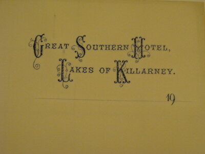 Orig. Vint. STATIONARY - Great Southern Hotel - Lakes of Killarney early 1900's