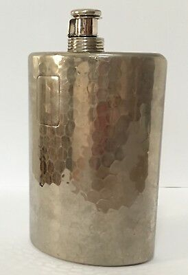 Vintage Hammered Stainless Steel 10 Oz Hip/pocket Flask.
