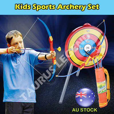 Bow And Arrow Kids Outdoor Sports Toy Archery Set W/ Target Tripod & Arrow Pouch